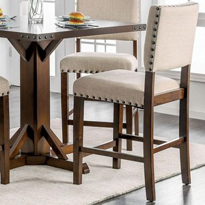 Set of 2 Upholstered Counter Height Chairs with Oversize Nailheads