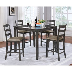 Casual 5 Piece Counter Height Dining Set with Faux Leather Seats