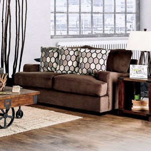 Transitional Love Seat with Track Arms