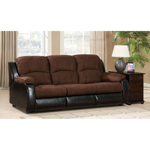 Two Tone Queen Sleeper Sofa in Microfiber and Leatherette Upholstery