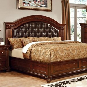 Traditional Queen Bed with Upholstered Headboard