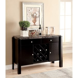Contemporary Server with Wine Rack