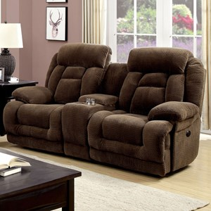 Power-Assist Console Loveseat Recliner with Pillow Arms and Padded Headrest