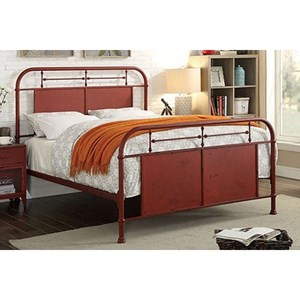 Industrial Queen Metal Bed with Distressed Finish