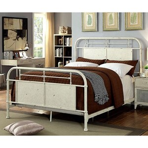 Industrial King Metal Bed with Distressed Finish