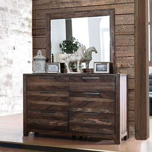 Rustic 6-Drawer Dresser and Mirror Combination with Felt-Lined Top Drawers
