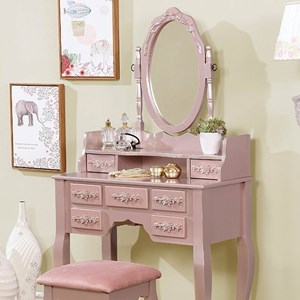 Traditional Vanity and Stool Set