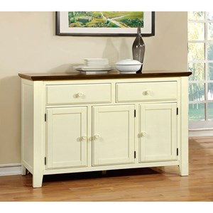 Cottage Dining Server with 2 Top Drawers and Lower Storage