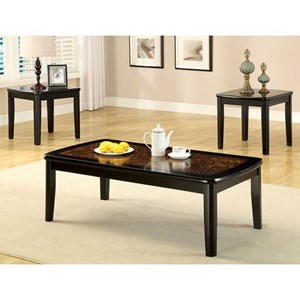 Transitional 3 Piece Table Set with Faux Marble Top