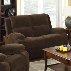 Casual Reclining Loveseat in Flannel-Like Fabric