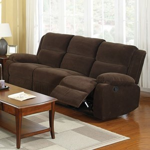 Casual Reclining Sofa in Flannel-Like Fabric