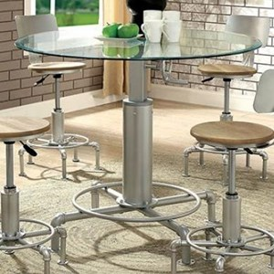 Contemporary Round Adjustable Dining Table with Glass Top