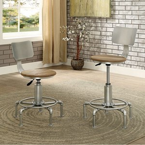 2 Pack of Contemporary Bar Stools with Adjustable Height