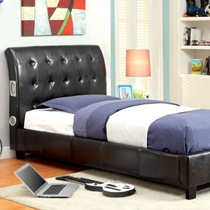 Transitional Twin Platform Bed with Bluetooth Speakers
