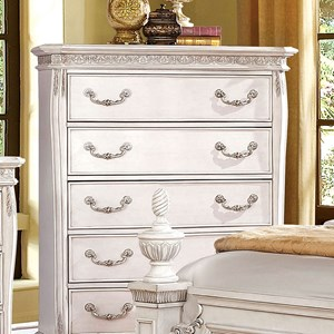 Traditional 5 Drawer Chest with Felt-Lined Top Drawer