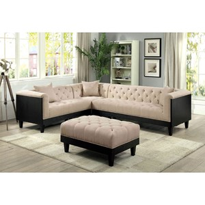 Transitional Sectional with Tufting and Tuxedo Arms