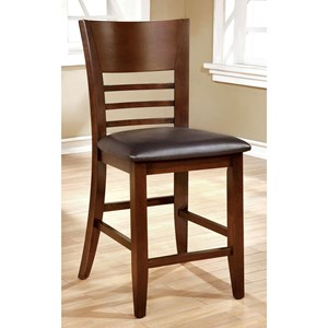 Set of 2 Counter Height Slat Back Chairs