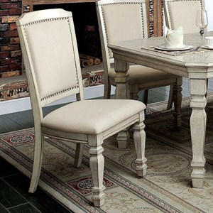 Transitional Upholstered Side Chair with Nailhead Trim