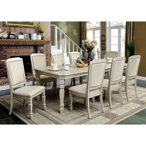 """Transitional Table and 8 Chairs with Two 18"""" Leaves"""
