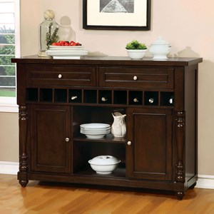 Transitional Dining Server with Wine Storage