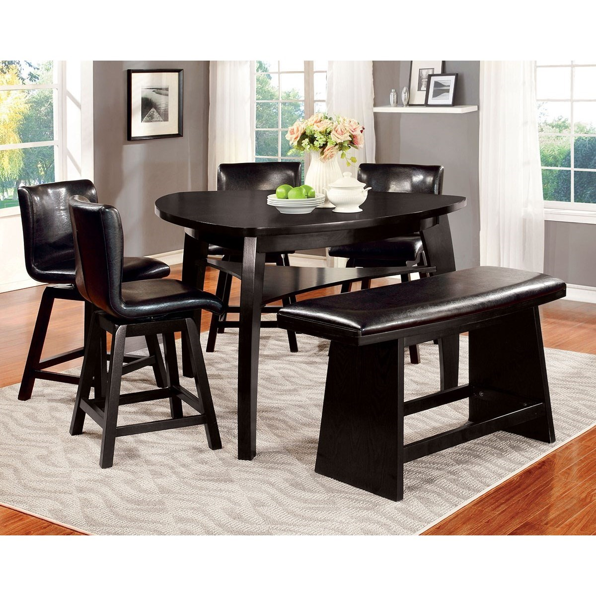 Hurley Table, 4 Chairs and Bench Set by Furniture of America at Dream Home Interiors