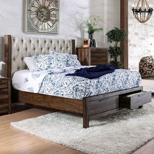 Transitional California King Upholstered Bed with Footboard Storage