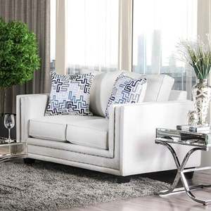 Contemporary Love Seat with Nailhead Trim