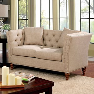 Transitional Loveseat with Button Tufted Back
