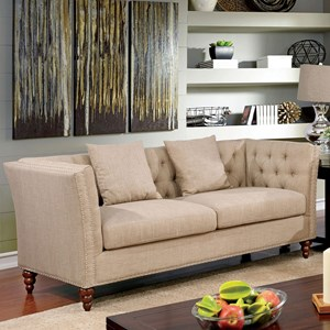 Transitional Sofa with Button Tufted Back