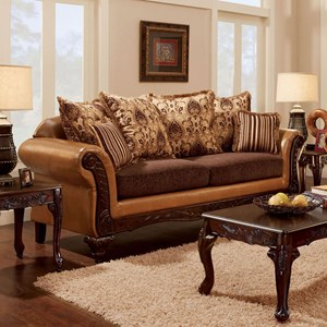 Traditional 2 Tone Sofa with Intricate Wood Trim