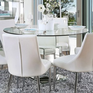 Contemporary Dining Table with Mirror Base and Glass Top