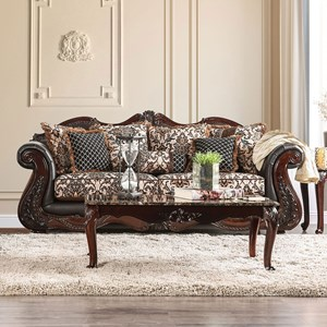 Traditional Fabric and Faux Leather Sofa with Ornate Carved Wood