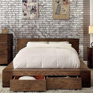 Rustic Queen Platform Bed with Storage