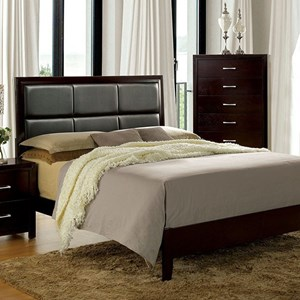 Transitional Eastern King Bed with Leatherette Upholstered Headboard
