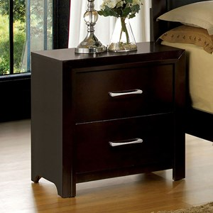 Transitional Nightstand with Silver Finished Drawer Handles