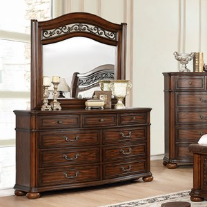 Traditional 6-Drawer Dresser and Mirror Combination with Felt-Lined Top Drawers