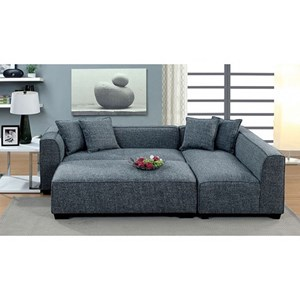 Contemporary L-Shaped Sectional and Ottoman