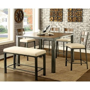Industrial Counter Height Table and Chair Set with Bench
