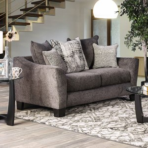 Contemporary Love Seat with Loose Back Pillows