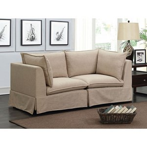 Transitional Sectional Loveseat with Skirted Base