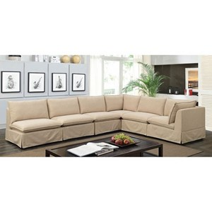 Transitional L-Shaped Sectional with Skirted Base