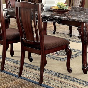 Set of 2 Traditional Style Side Chairs with Brown Flannel Cushions