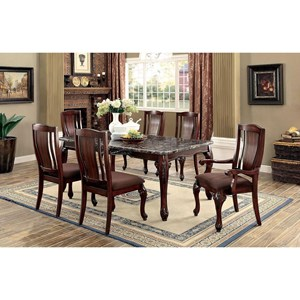 Traditional 7 Piece Dining Set with Faux Marble Table