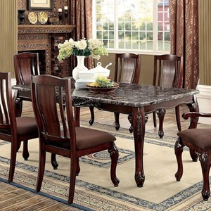 Traditional Dining Table with Faux Marble Top