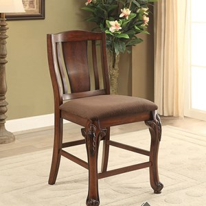 Set of 2 Traditional Style Counter Height Chairs with Brown Flannel Cushions