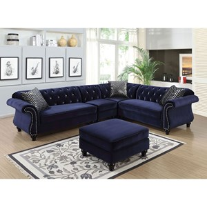 Glam Sectional with Button Tufted Back