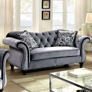 Loveseat with Tufted Back and Nailhead trim
