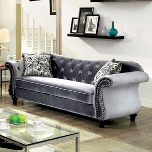 Sofa with Tufted Back and Nailhead Trim