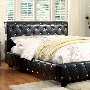 Contemporary Full Upholstered Bed with Bluetooth Speakers