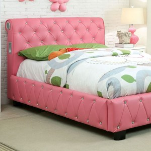 Contemporary Twin Upholstered Bed with Bluetooth Speakers